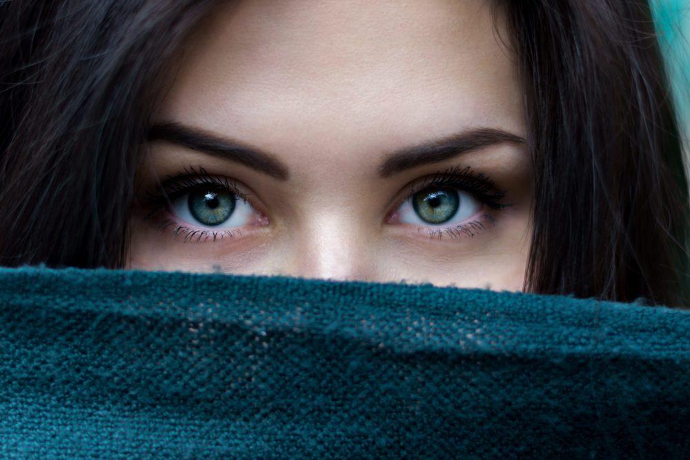 Peeking eyes smooth skin