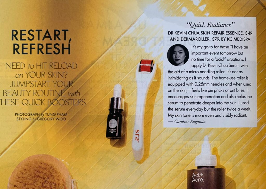 Article feature of Dr Kevin Chua Skin Repair Essence and Dermaroller